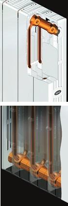 Конструкция двухтрубного вертикального коллектора радиатора Supremo (RIFAR)