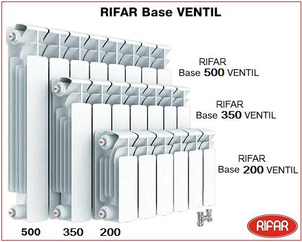Биметаллический радиатор RIFAR Base Ventil с нижним подключением