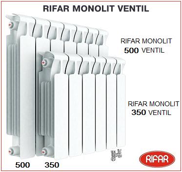 Монолитный биметаллический радиатор RIFAR Monolit Ventil с нижним подсоединением