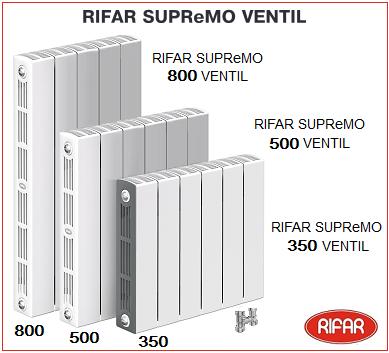 Биметаллический радиатор с нижним подключением RIFAR SUPReMO Ventil